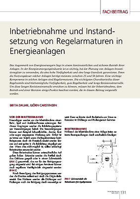 Inbetriebnahme und Instandsetzung von Regelarmaturen in Energieanlagen