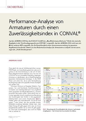 Performance-Analyse von Armaturen durch einen Zuverlässigkeitsindex in CONVAL®